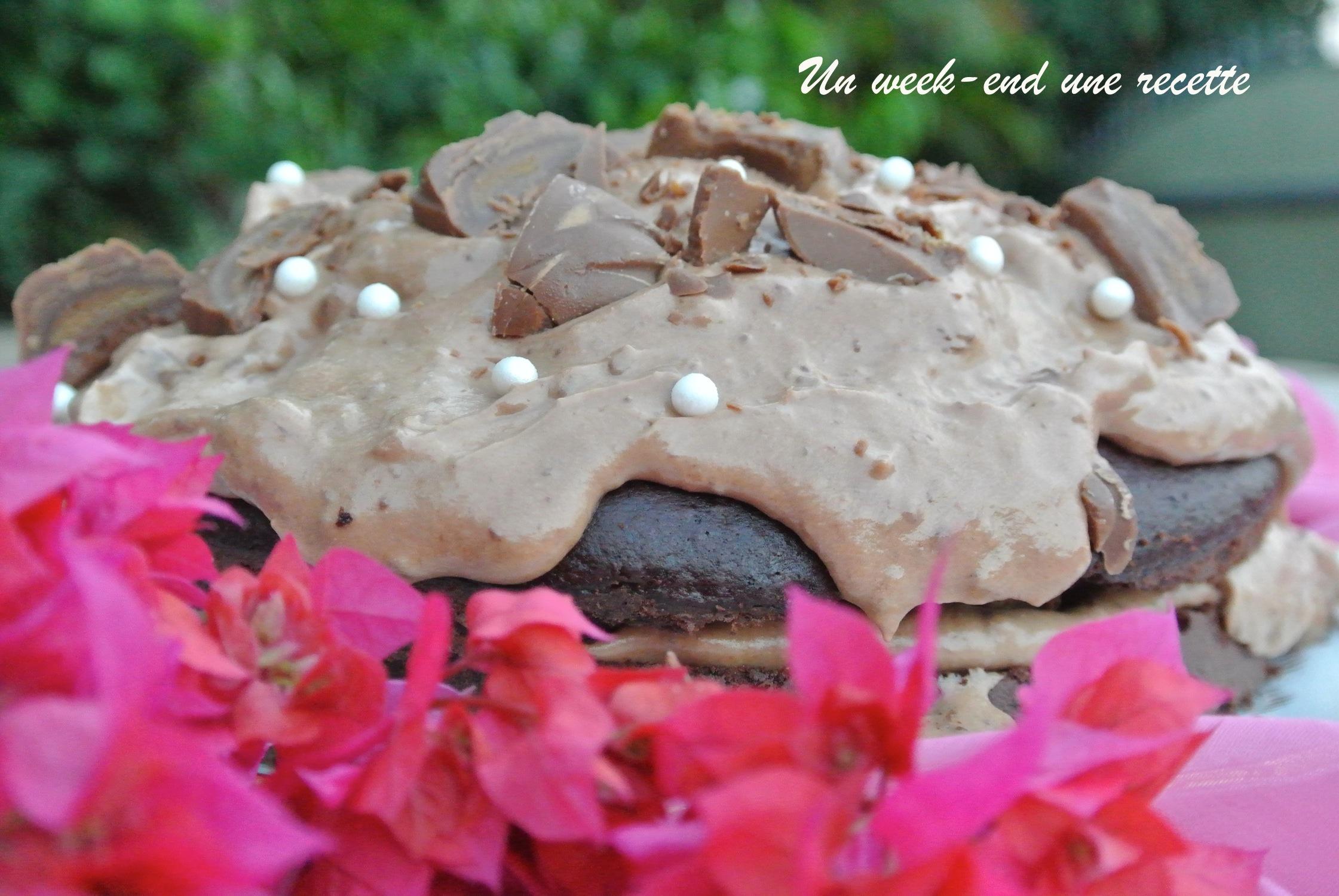 Layer cake chocolat banane caramel