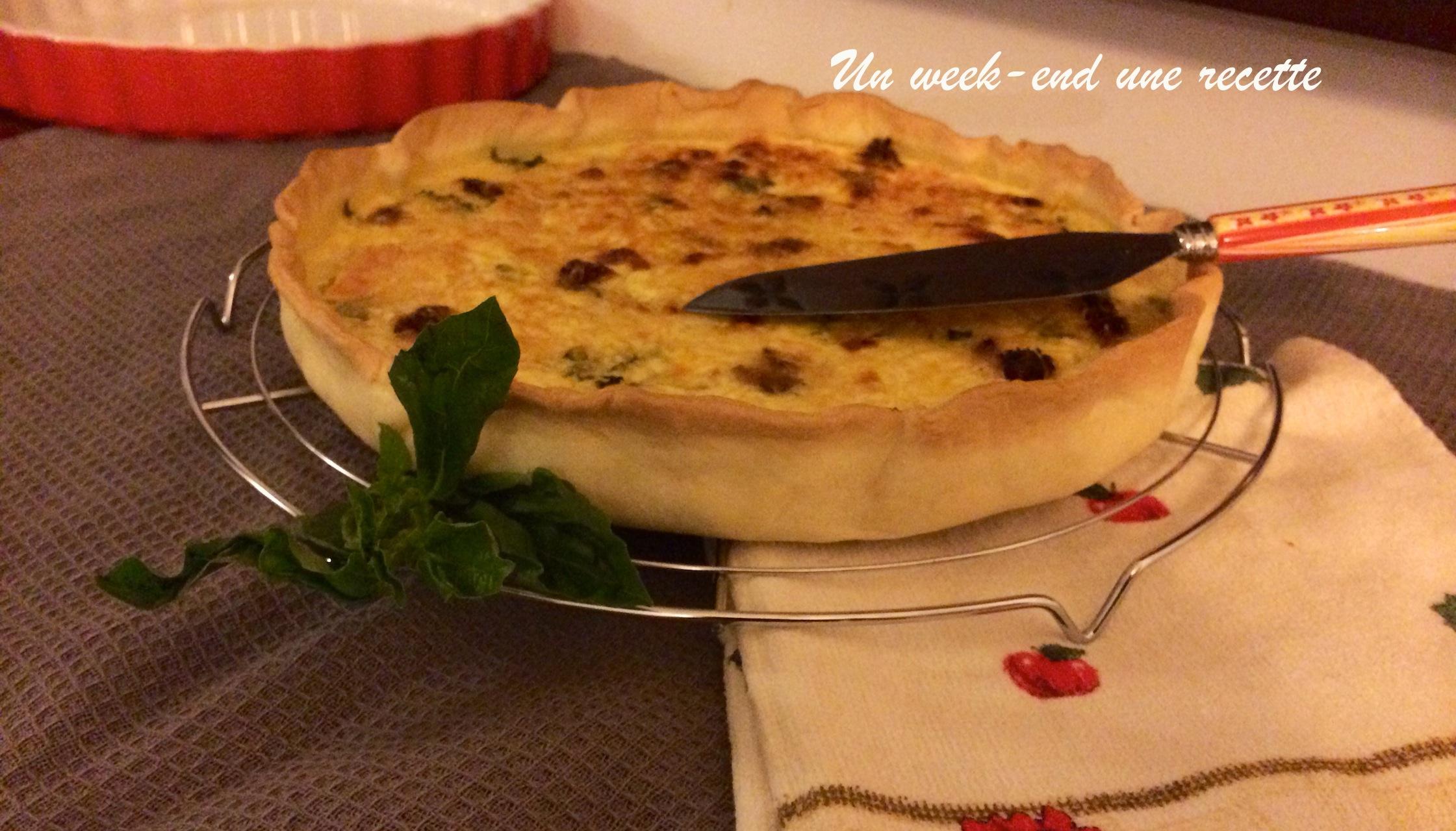 tarte courgette, saumon, tomate confite