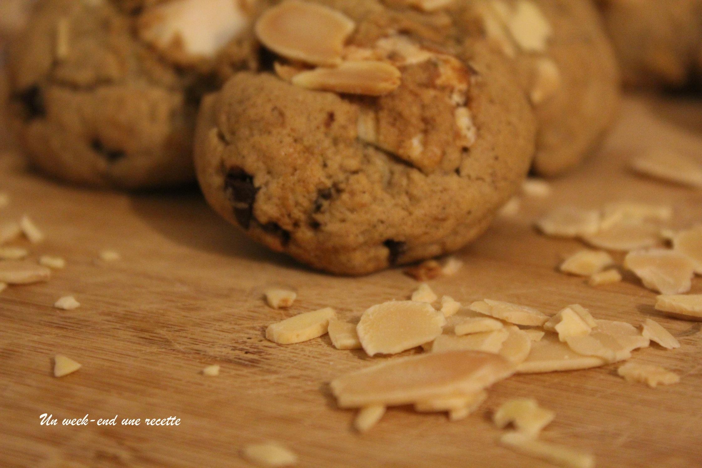 Cookies au nougat, pépites de chocolat