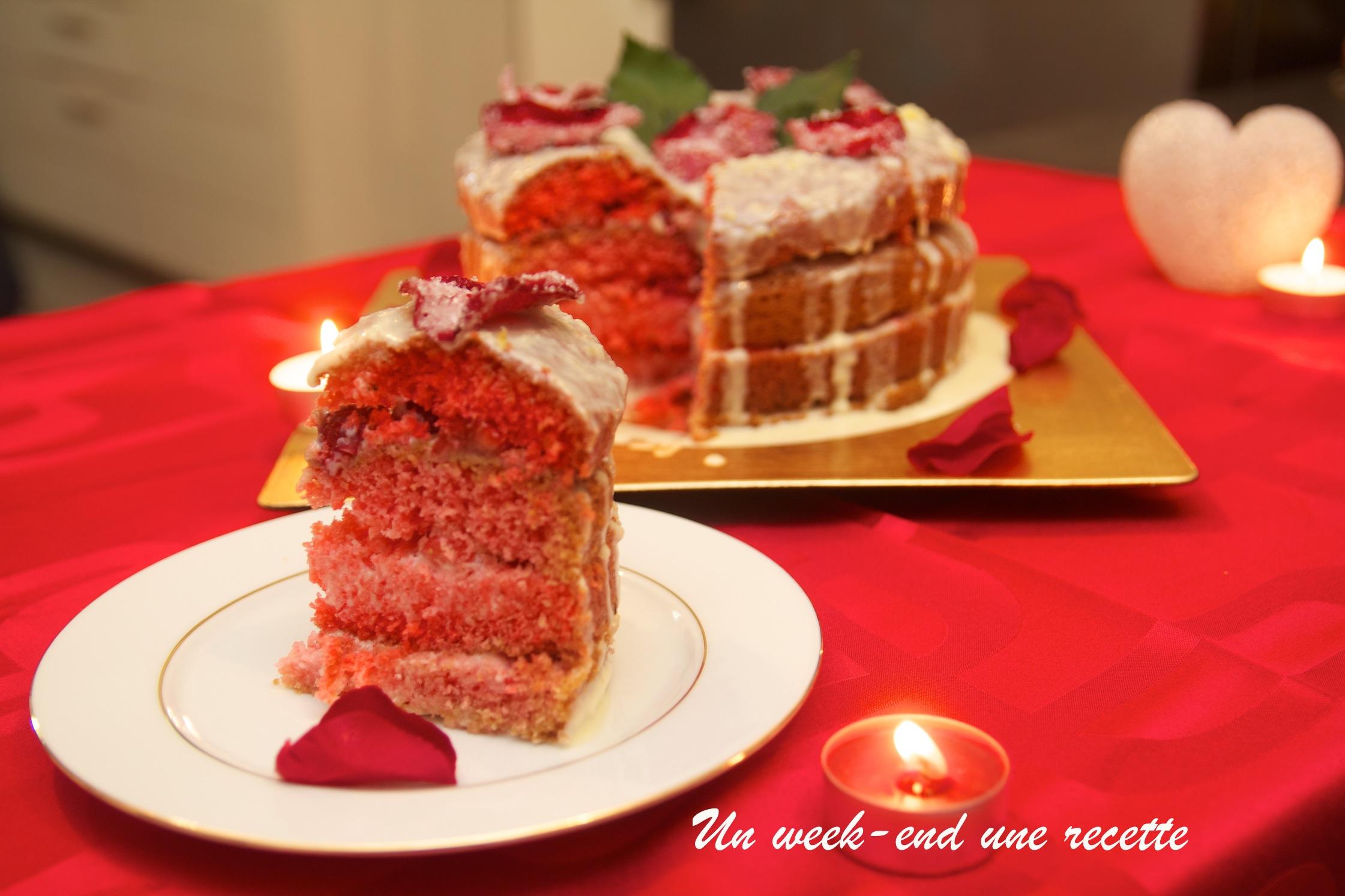 moelleux rose-framboise à la crème chocolat blanc citron