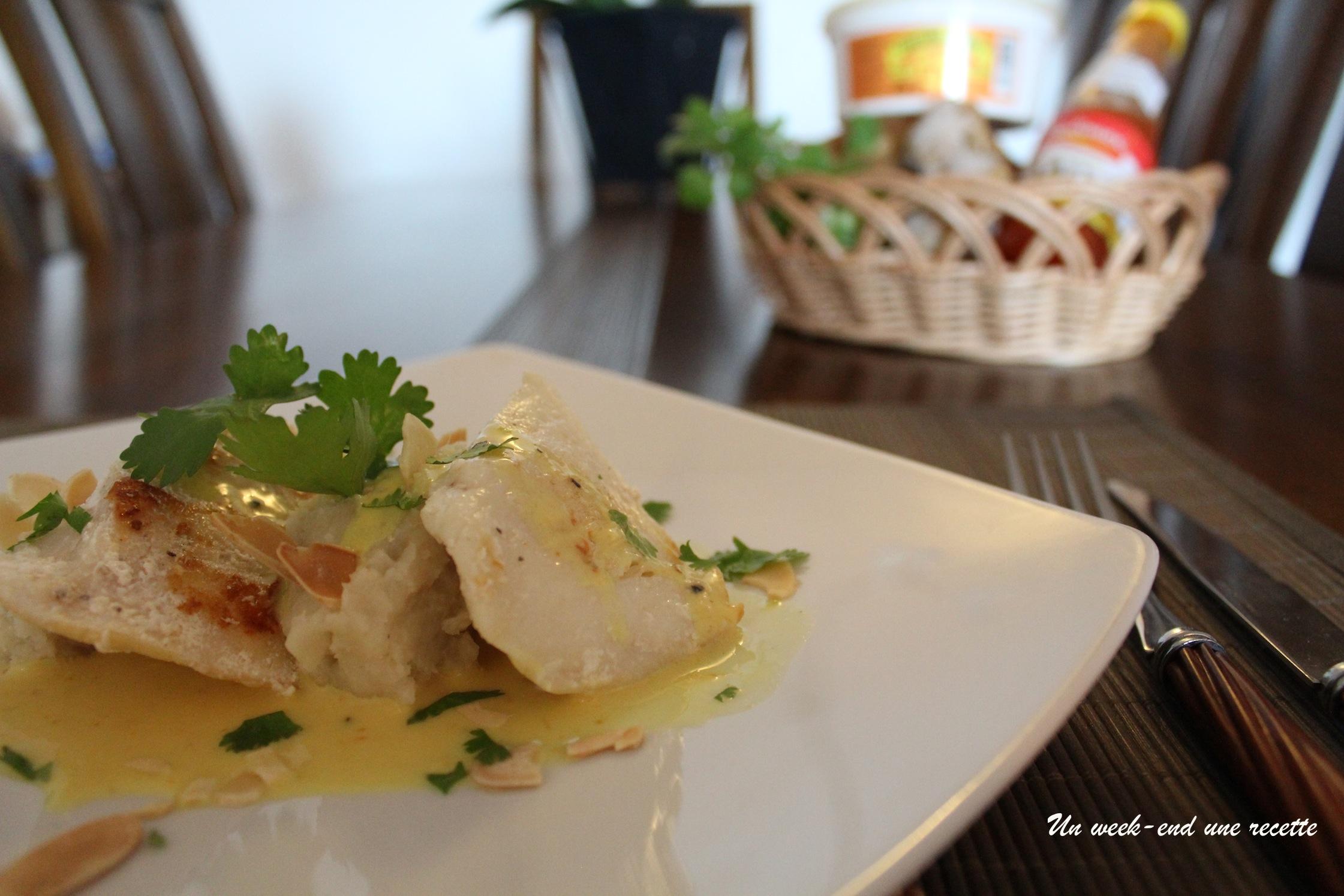 Joues de légine sauce piquante avec sa purée de patate douce à la coriandre