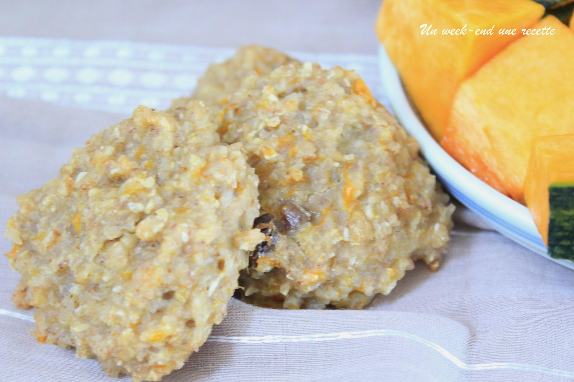 Cookies au boulgour de sarrasin à la citrouille