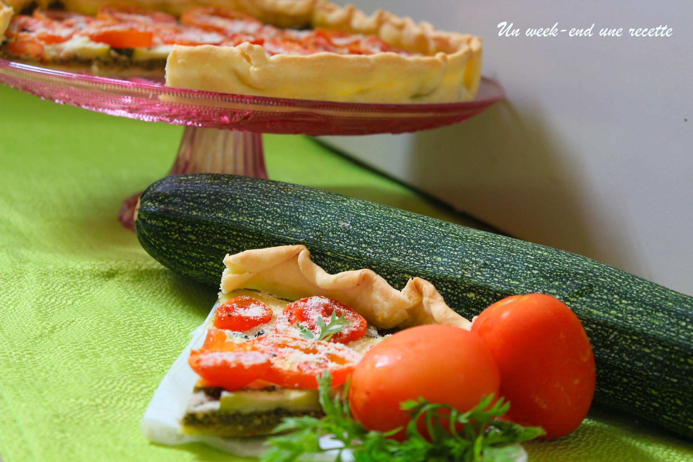 Tarte courgettes pesto de fanes de carotte