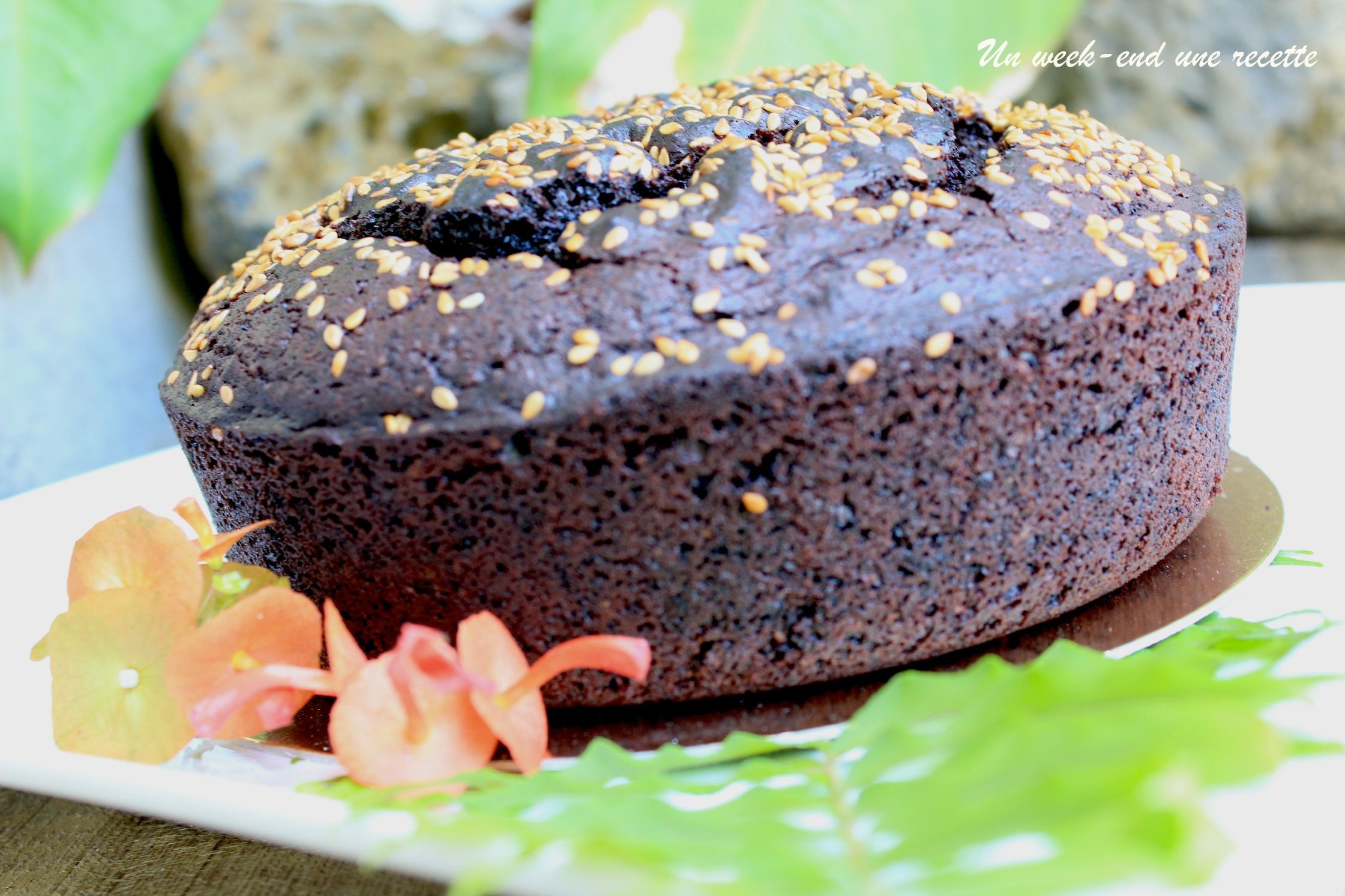 Gâteau au chocolat cacahuètes sésame