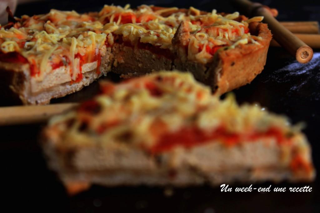 Tarte à la tomate et tofu fumé