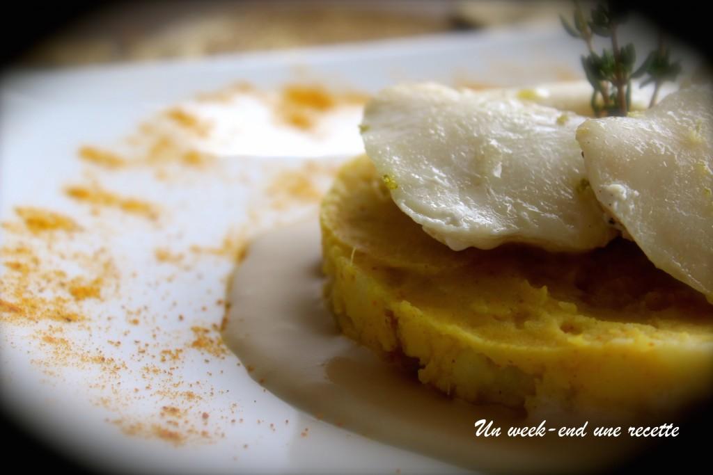 joues de lésines et écrasé de pommes de terre et patates douce