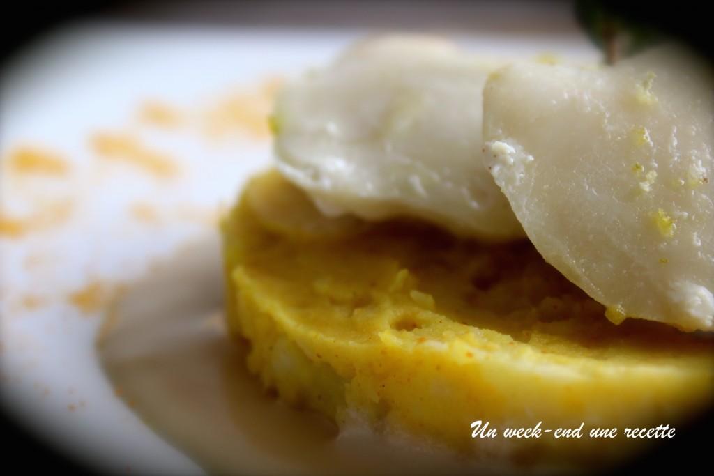 Joues de légine et écrasé de pommes de terre et de patate douce curcuma et lait de coco